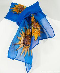 098aaab61170 Blue Poppy Silk Scarf. 8.5