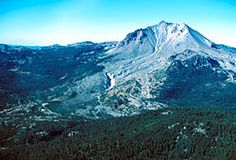 Northeast side of Lassen Peak, showing the area devastated by mudflows and a lateral blast in 1915.