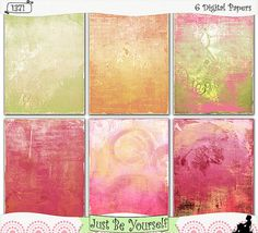 "Shabby gesso and spring colors are featured on these printable art journal papers featuring distressed digitally painted backgrounds. Instant download collection of 6 - 8.5"" x 11"" papers. (1371) $2.50"