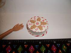 1:6 Dollhouse Miniature Handcrafted Christmas Gingerbread Candy Cane Cake Barbie #SweetPeaToysMiniatures