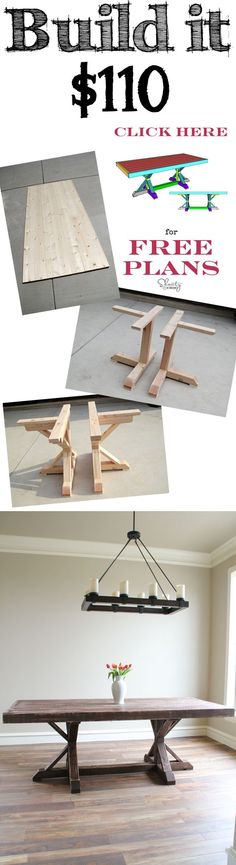 Build this Restoration Hardware Inspired Dining Table for only $110! I'm sure this could be made for WAY less, but it's a neat idea.: