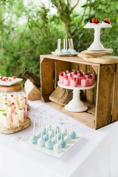 Wooden box on dessert table