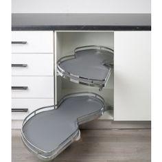 Bandeja oscilante antideslizante de extracción total y cierre amortiguado para mueble rincón luxury.