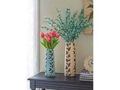 Yaprak desenli seramik vazo buz mavisi.  Vivense mobilya dekorasyon