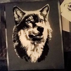 Instagram #skateboarding photo by @jiggymcgee - Almost done :) one more layer to cut... I'm pretty stoked #wolf #stencil #instastencil #stencilart #handcut #handsprayed #spraypaint #art #artwork #chillin #illvibes #cutting #jiggygrip #griptapeart #sk8 #skateboarding #skateboarders #skate #skatelife #caseofthemondays. Support your local skate shop: SkateboardCity.co