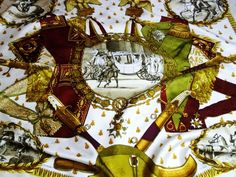 Authentic Vintage Hermes Silk Jacquard Scarf Napoleon By Ledoux Maroon – Carre de Paris