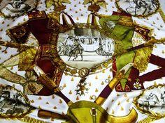 Authentic Vintage Hermes Silk Jacquard Scarf Napoleon By Ledoux Maroon – Carre de Paris