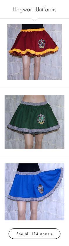 """Hogwart Uniforms"" by tbabydoll2012 ❤ liked on Polyvore featuring skirts, harry potter, bottoms, gryffindor, flouncy skirt, flounce skirt, red flared skirt, skater skirts, burgundy skater skirts and slytherin"