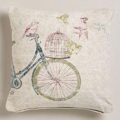 Bike with Birdcage Recycled Tarp Throw Pillow