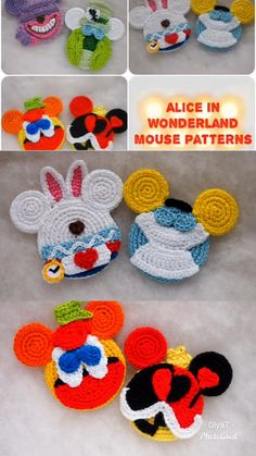 The White Rabbit Mouse Free crochet pattern Crochet Toys Patterns, Amigurumi Patterns, Knitting Patterns, Knitting Ideas, Free Knitting, Crochet Gifts, Free Crochet, Knit Crochet, Crochet Disney