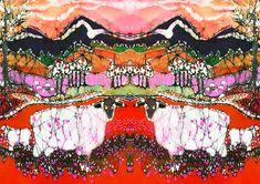 Sheep on a Hot Autumn Day - batik art fabric from original batik - Custom printed fabric  quilt