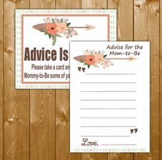Tribal Advice for Mommy to Be Baby Shower Games Tribal Girl Game with Sign, Shower Games, Printable Instant Download