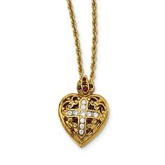 14k Gold IP Red & Clear Crystal Sacred Heart Locket Necklace - 18in Women's