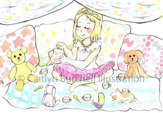 A princess tea party! Art by Caitlyn Burchell Illustration Princess Tea Party, Watercolor Paintings, To My Daughter, Princess Zelda, Colour, Photo And Video, My Favorite Things, Illustration, Pictures