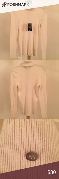 NWT Ralph Lauren Cream Turtleneck Size Medium  New with Tags - New Condition!!  Cream colored, light-weight, soft  Please feel free to ask any questions!!! Ralph Lauren Sweaters Cowl & Turtlenecks