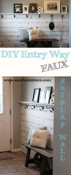 DIY Entry Way Plank Wall [Video Tutorial] Bring a little Farmhouse to your entry way by creating a shiplap look on with ripped plywood. This plank wall is gorgeous and easily adaptable in other rooms! Porte Diy, Diy Home Decor, Room Decor, Plank Walls, Ship Lap Walls, Cool Ideas, 31 Ideas, Home Projects, Home Remodeling