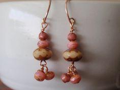 Antiqued czech glass drop earrings on rose gold by OneZenFlower, $27.00