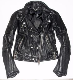 Burberry Prorsum Black Ribbed Leather Buckled Moto Biker Jacket IT 44 US 10 NWT #BurberryProrsum #Motorcycle