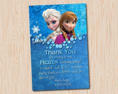 Frozen Thank You Card Frozen Birthday Party by MaryAnnColors