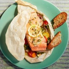 Alaska salmon in Parchment Paper with Vegetables  I have been wanting to try cooking in parchment paper and this looks like a good recipe to try. Very easy!