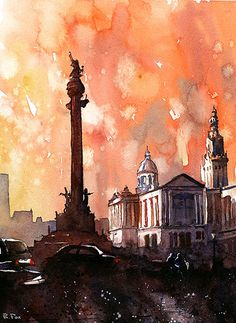 Watercolor painting of the statue of Christopher Columbus silhouetted at sunset in the city of Barcelona- Spain. Original painting- 10x14