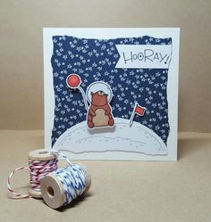 Card made using Mama Elephant Space Bears stamps and dies