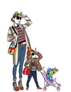 Illustration, Fashion victim girls and Stitch, by Margaux Motin