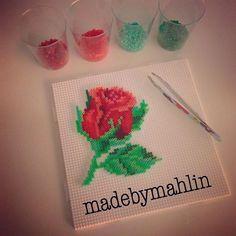 Rose hama mini beads by  madebymahlin