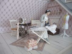 Ideas for the dollhouse sewing room, like the shelves and whitewashed floor.