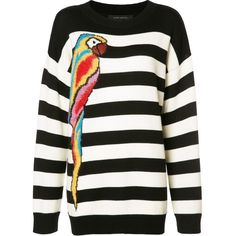 Marc Jacobs striped parrot jumper ($740) ❤ liked on Polyvore featuring tops, sweaters, black, stripe sweaters, wool crew neck jumper, wool sweaters, long sleeve jumper and crew neck sweaters
