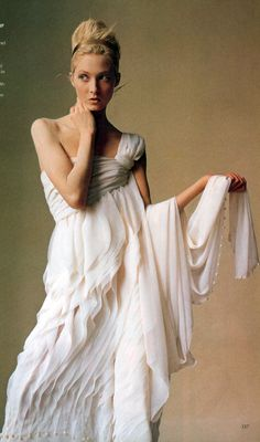 Goddess Worship. Chanel Haute Couture's ivory chiffon gown.