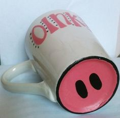 DIY pig coffee cup. Color with Sharpies & put in oven at 350.