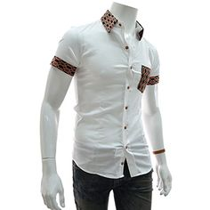 (CES18-WHITE) Slim Fit Pattern Pocket Patched Stretchy Short Sleeve Shirts