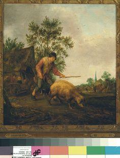 Isaack Jansz van Ostade, Boer met varken van de markt terugkerend (Farmer with pig returning from the market), 1644. (collection) #Franshalsmuseum #art #painting #pig