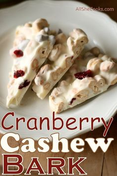 Cranberry Cashew Bark is a salty sweet treat with a little bit of tart. Leave nuts out for nut free alternative.