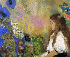 Portrait of Yseult Fayet, 1908,  pastel on paper, 65 x 80 cm, Private Collection, Symbolism, Odilon Redon (1840-1916).