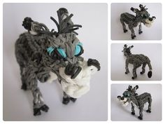 Rainbow Loom 3D DONKEY figure - Part 2/2. Designed and loomed by Nancy at Loombicious. Click photo for YouTube tutorial. 11/10/14.