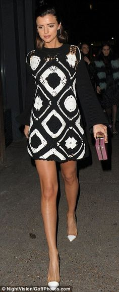Legs eleven: The ex-TOWIE star showed off her slim limbs in the short ensemble