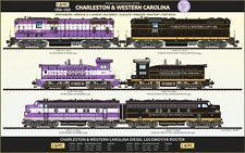 CHARELSTON & WESTERN CAROLINA LOCOMOTIVE POSTER TRAINS RAILROADS