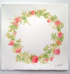 Floral wreath watercolor painting pink flowers art by Jennifer Allevato
