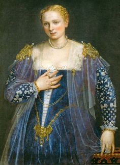 Venetian lady wearing blue velvet with cutwork sleeves. From Starlight Masquerade.