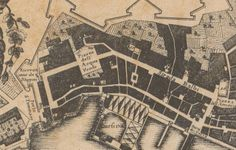 """C'ERA UNA VOLTA GENOVA -  part of the Map of Giacomo Brusco - 1766 - (dalla raccolta del Giolfi a Palazzo Rosso - ufficio Belle Arti). The railway station """"Principe"""" will take place from left side of """"Piazza dell'Acqua Verde"""" toward west unill the city wall and the """"porta di S. Tommaso"""" (St.Thomas Gate). Both the wall and the gate will be destroyed to leave the space to the railway."""