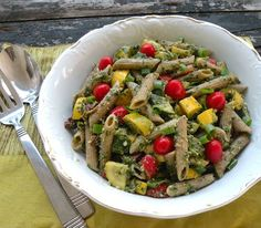 Pasta salad with parsley pesto and two squashes recipe #vegan