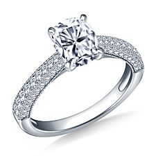 Milgrained Vintage Pave Set Diamond Engagement Ring in 14K White Gold (1/3 cttw.)