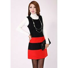 Women's Contrast Color Sleeveless Mini Dress