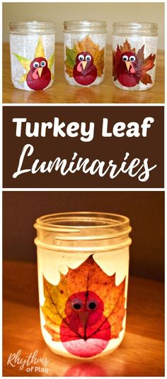 DIY turkey leaf lantern luminaries are made with real fall leaves, but you can use silk leaves too. The tutorial makes this autumn nature craft easy for both kids and adults. They make a great Thanksgiving decoration and centerpiece for any holiday table!