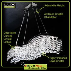 art deco lighting | Art Deco Wave Crystal Chandelier Ceiling Light | eBay