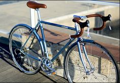 light blue and brown bike