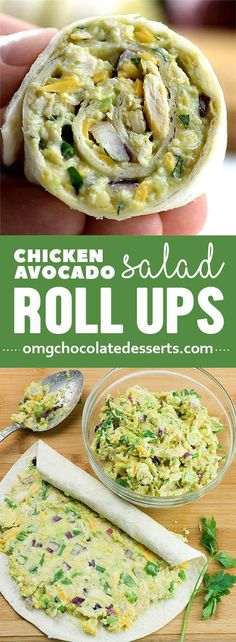 In less than 10 minutes you can make a whole bunch of these yummy Chicken Avocado Salad Roll Ups for healthy lunch for kids or light and easy dinner.
