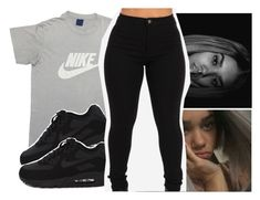 """This is really me outfit rn "" by pinksemia ❤ liked on Polyvore featuring NIKE"